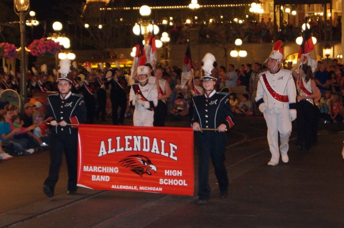photo of Allendale High School performing in Disney World