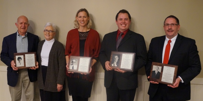 2014 Alumni Hall of Fame Inductees Jim & Helen VanLaar (representing their daughter, Gina (VanLaar) Lanser; Symantha Reenders (representing her father, Jay Reenders); Jason Coffey, and Gary Torno