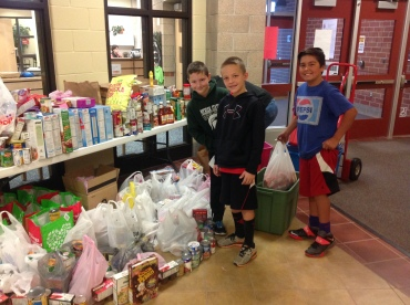 food drive with boys